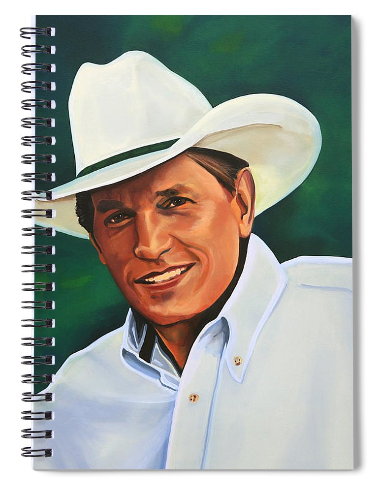 George Strait Spiral Notebook featuring the painting George Strait by Paul Meijering