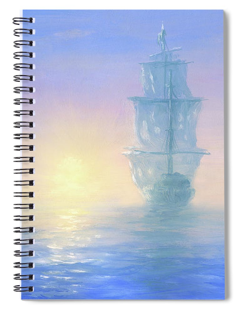 Art Spiral Notebook featuring the digital art Ghost Ship by Pobytov