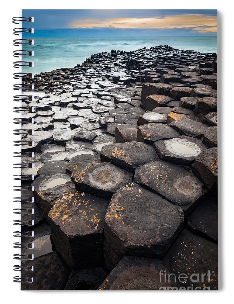 Europe Spiral Notebook featuring the photograph Giant's Causeway Hexagons by Inge Johnsson