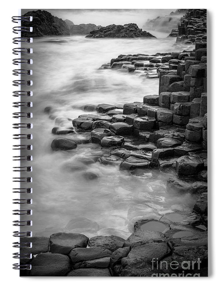 B&w Spiral Notebook featuring the photograph Giant's Causeway Waves by Inge Johnsson