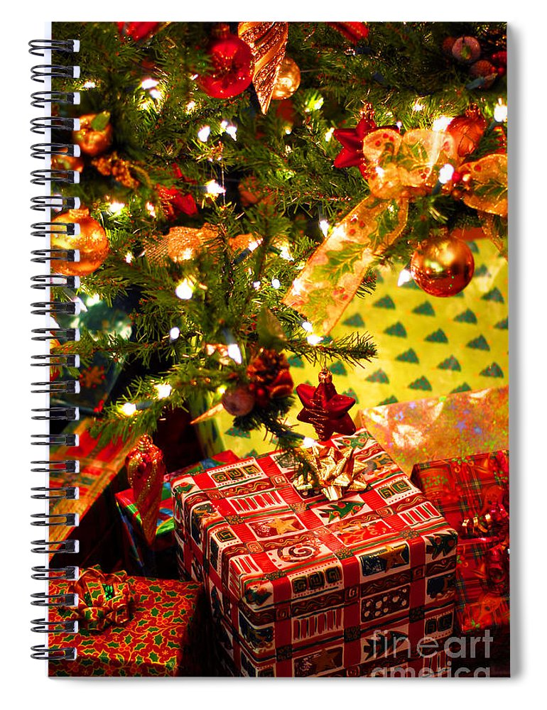 Christmas Spiral Notebook featuring the photograph Gifts Under Christmas Tree by Elena Elisseeva