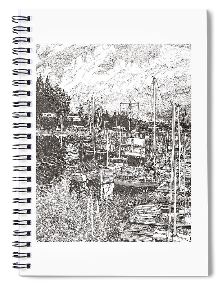 Yacht Portraits Spiral Notebook featuring the drawing Gig Harbor Entrance by Jack Pumphrey