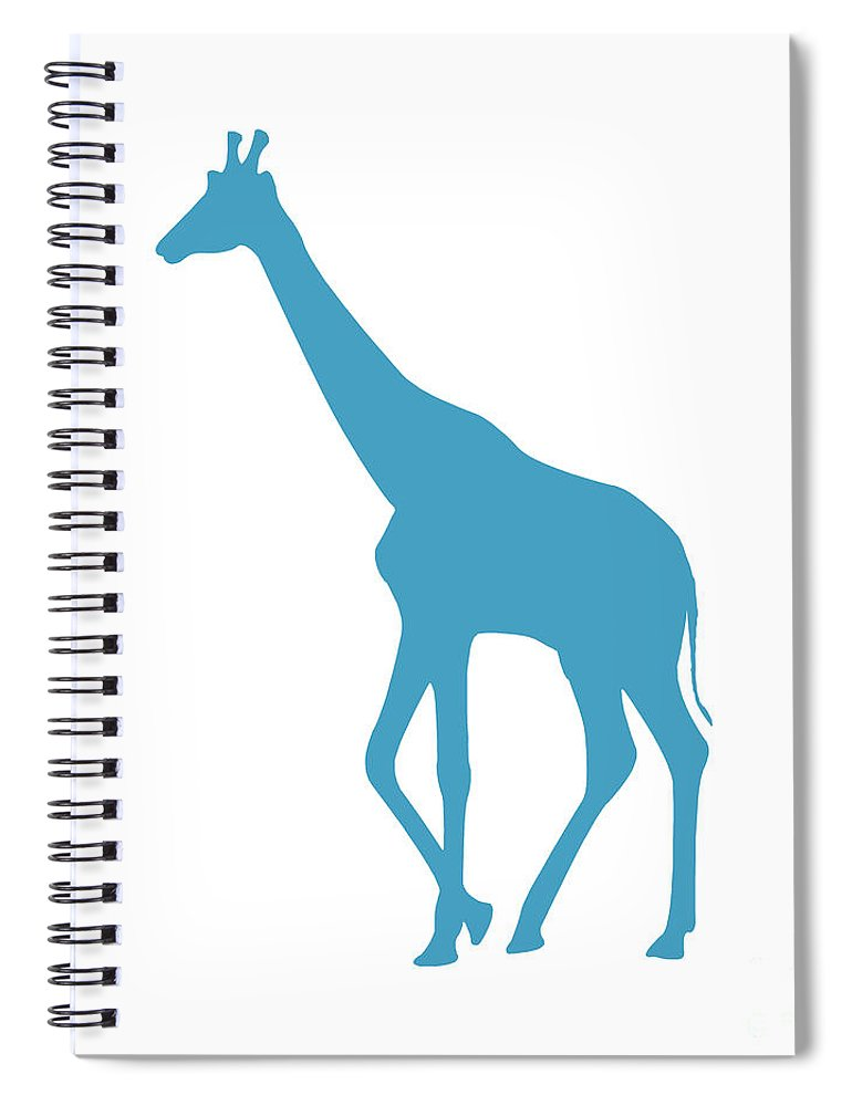 Graphic Art Spiral Notebook featuring the digital art Giraffe In White And Turquoise by Jackie Farnsworth