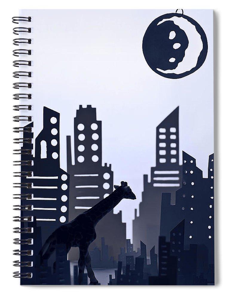 White Background Spiral Notebook featuring the digital art Giraffe Walking Around The City by Dina Belenko Photography