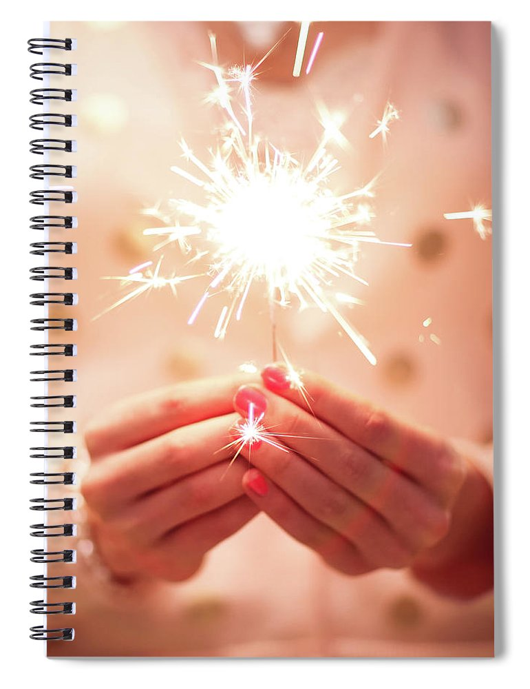 Firework Display Spiral Notebook featuring the photograph Girl Holding Small Sparkler by Sasha Bell