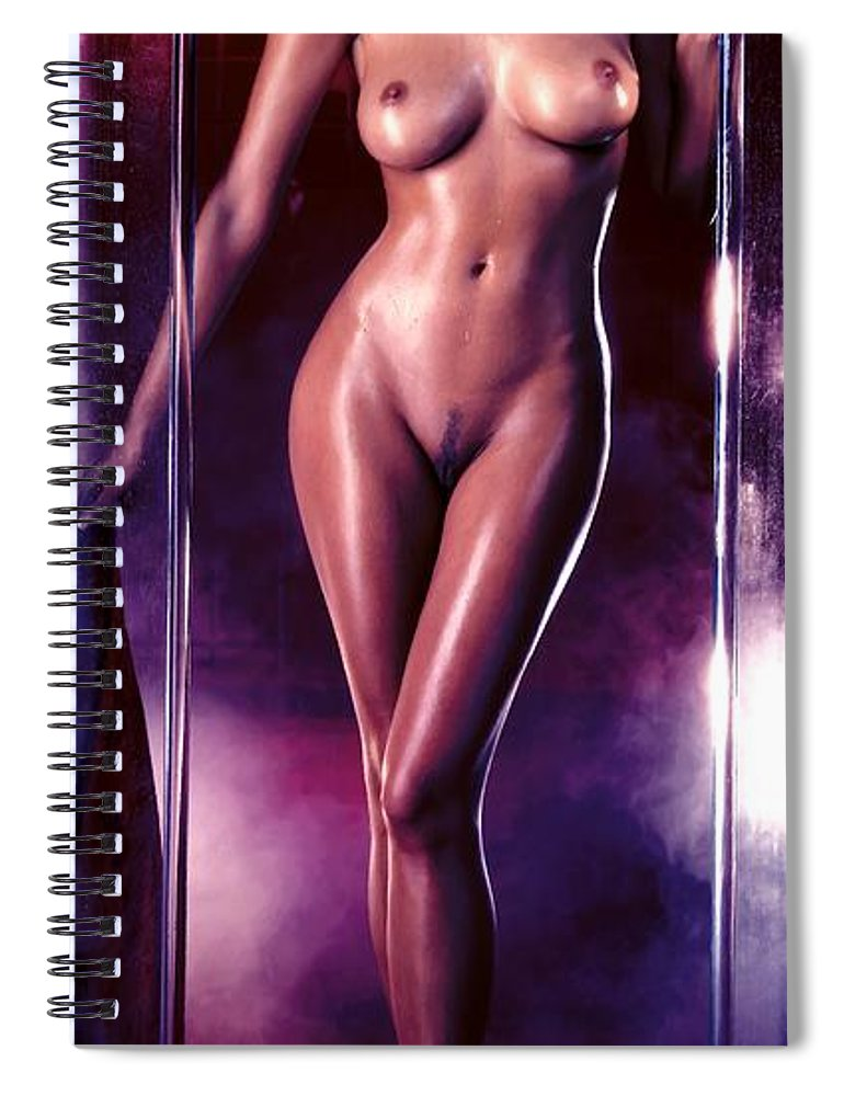 Digital Painting Spiral Notebook featuring the digital art Girl in the shower 1 by Gabriel T Toro