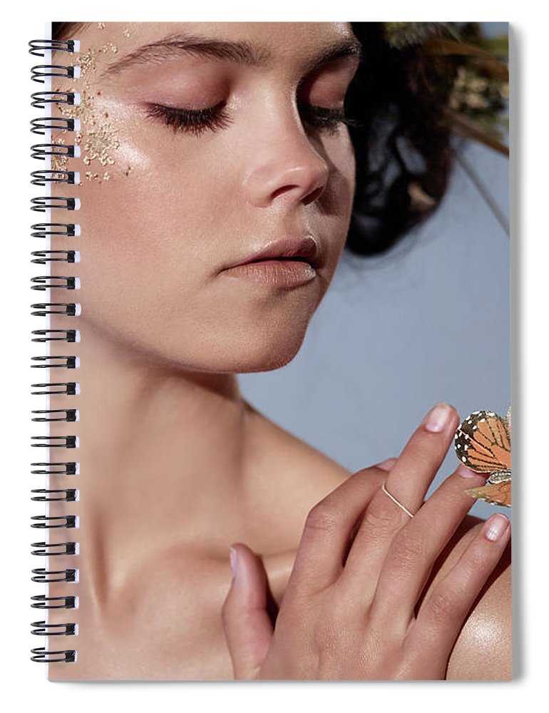Tranquility Spiral Notebook featuring the photograph Girl With Butterfly In Hand by Bill Diodato