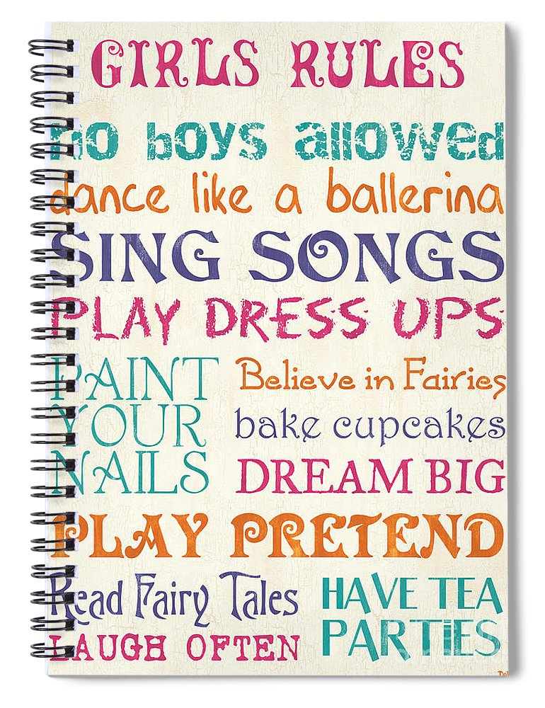 Rules Spiral Notebook featuring the painting Girls Rules by Debbie DeWitt