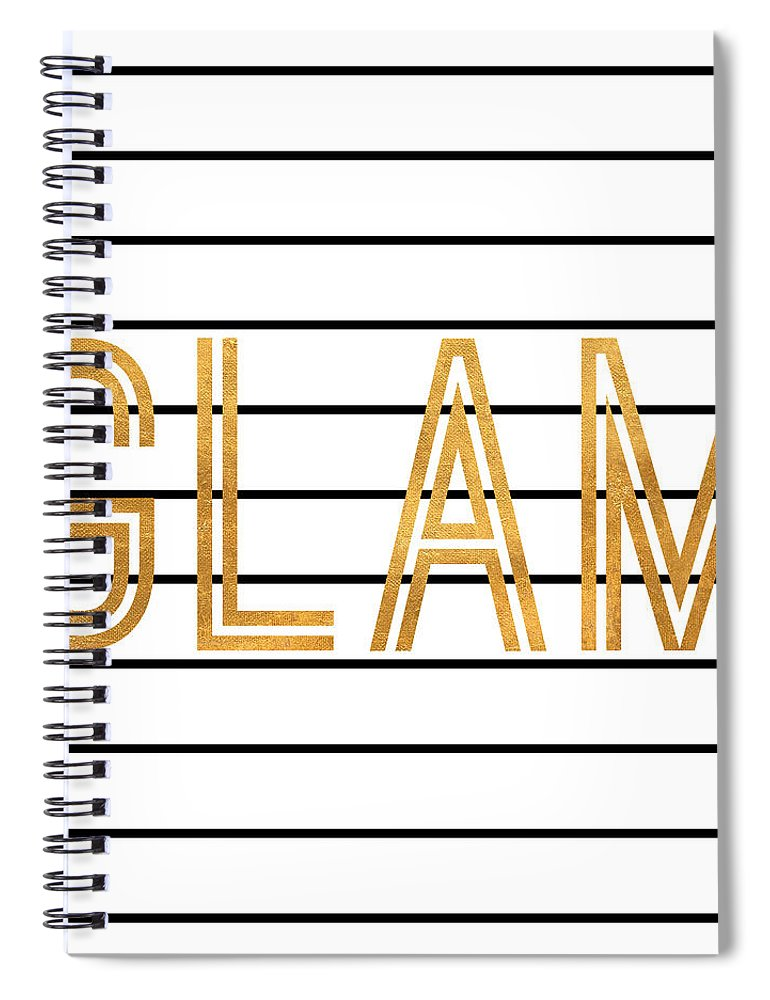 Glam Spiral Notebook featuring the digital art Glam Pinstripe Gold by South Social Studio