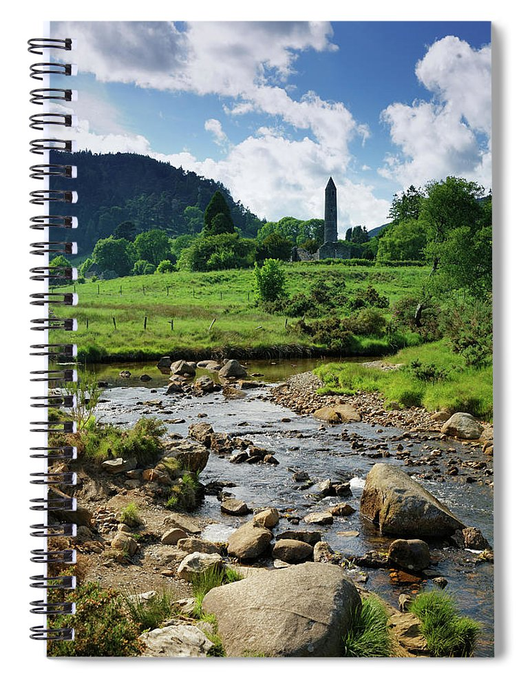 Scenics Spiral Notebook featuring the photograph Glendalough Creek With The Old Monastic by Mammuth