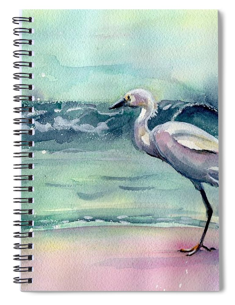 Egret Painting Spiral Notebook featuring the painting Going Home by Maria Reichert