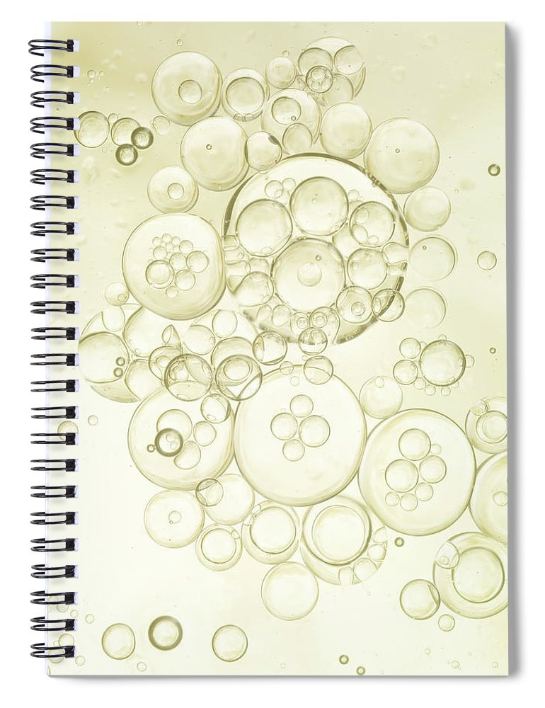 Purity Spiral Notebook featuring the photograph Gold Bubbles Of Oil And Water by Level1studio