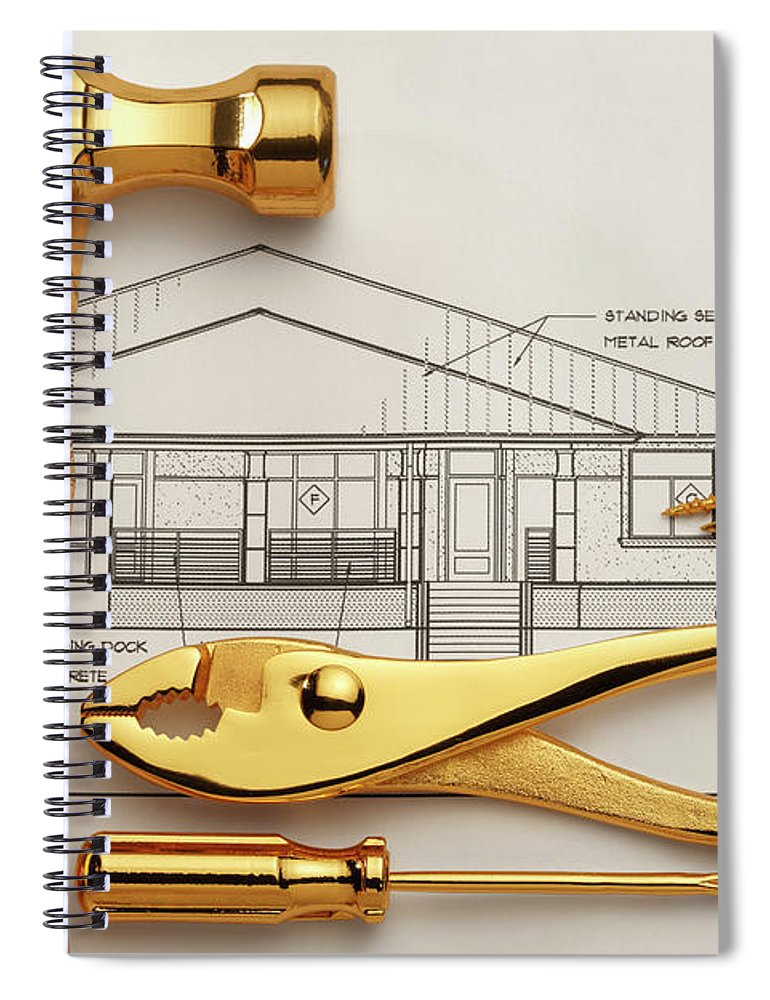Plan Spiral Notebook featuring the photograph Gold Plated Tools And Blueprints by Dny59