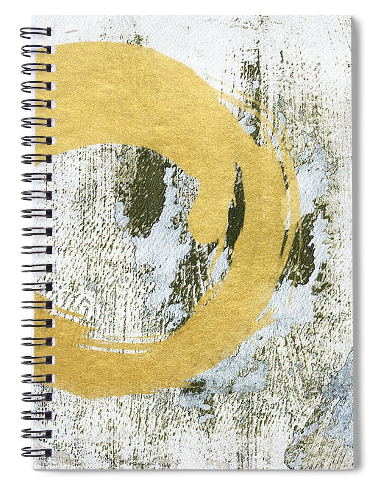 Gold Spiral Notebook featuring the painting Gold Rush - Abstract Art by Linda Woods
