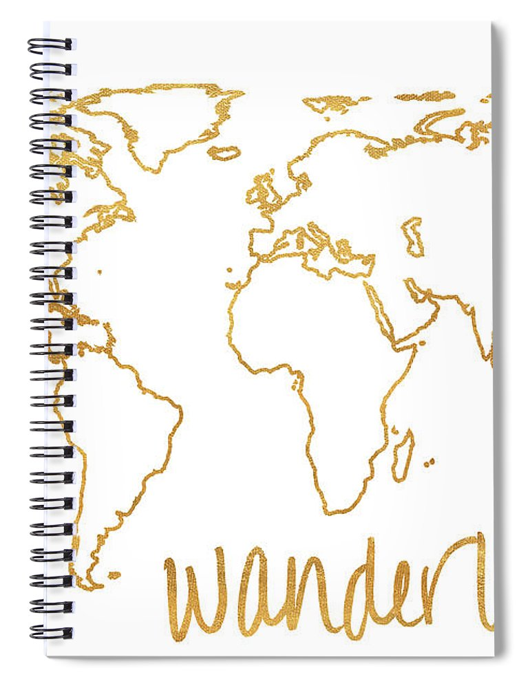 Gold Spiral Notebook featuring the mixed media Gold Wanderlust by South Social Studio