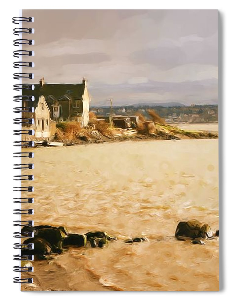 North Queensferry Spiral Notebook featuring the digital art Golden Afternoon by Elena Perelman