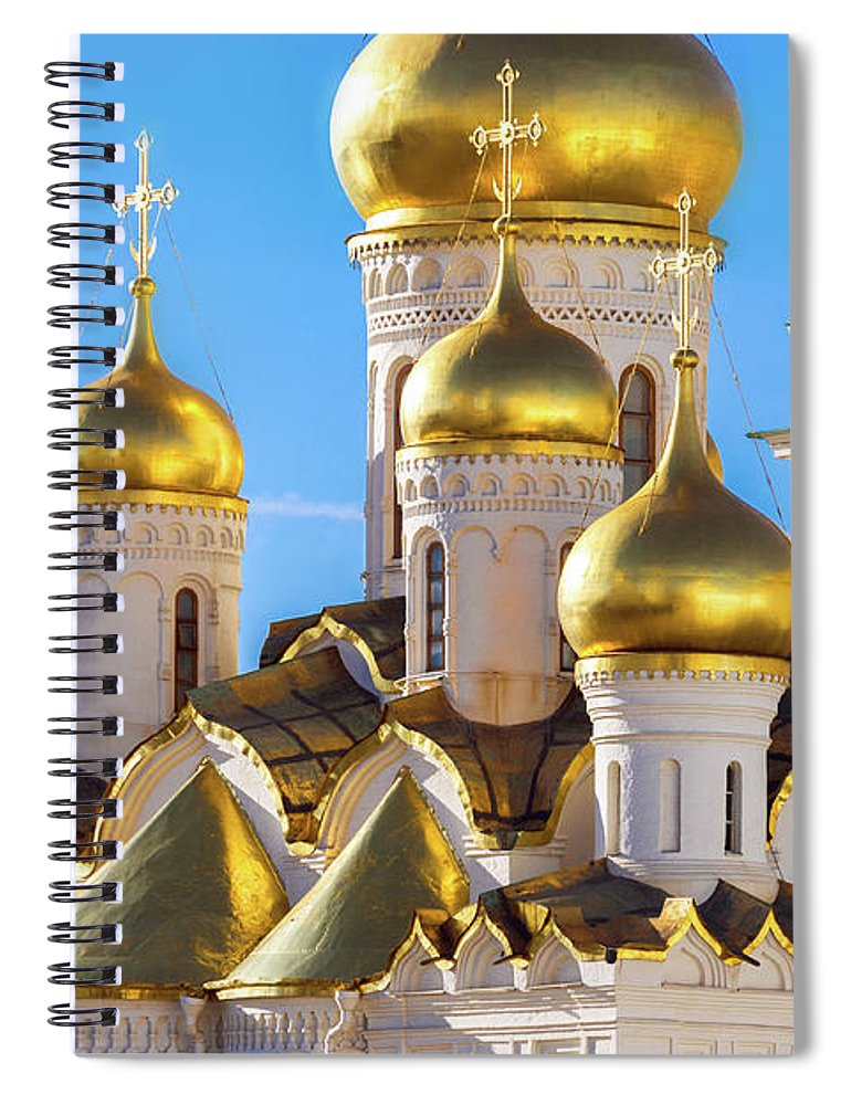 Annunciation Spiral Notebook featuring the photograph Golden Domes Of The Russian Church by Mordolff