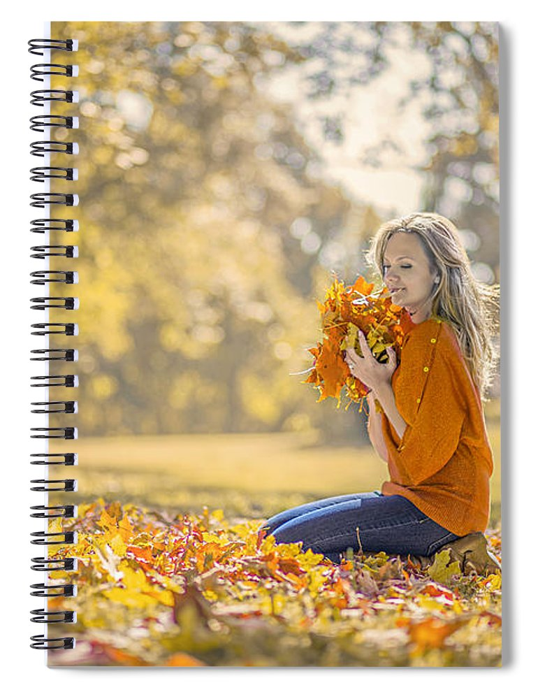 Girl Spiral Notebook featuring the photograph Golden Fall by Evelina Kremsdorf