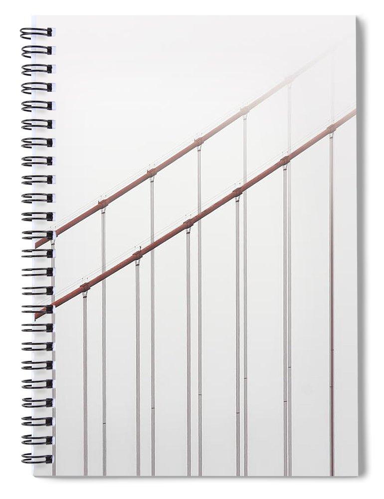 Scenics Spiral Notebook featuring the photograph Golden Gate Bridge Cable Fog by Chuckschugphotography