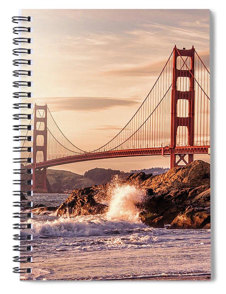 Water's Edge Spiral Notebook featuring the photograph Golden Gate Bridge From Baker Beach by Karsten May