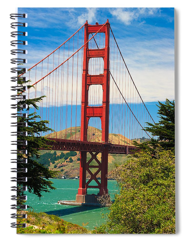 Architecture Spiral Notebook featuring the photograph Golden Gate Bridge by Raul Rodriguez
