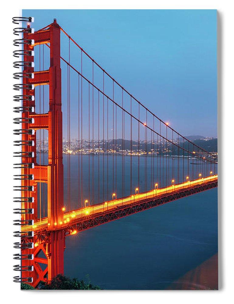 Dawn Spiral Notebook featuring the photograph Golden Gate Bridge, San Francisco by Deimagine