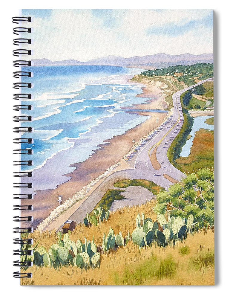 Pacific Coast Highway Spiral Notebook featuring the painting Golden View From Torrey Pines by Mary Helmreich