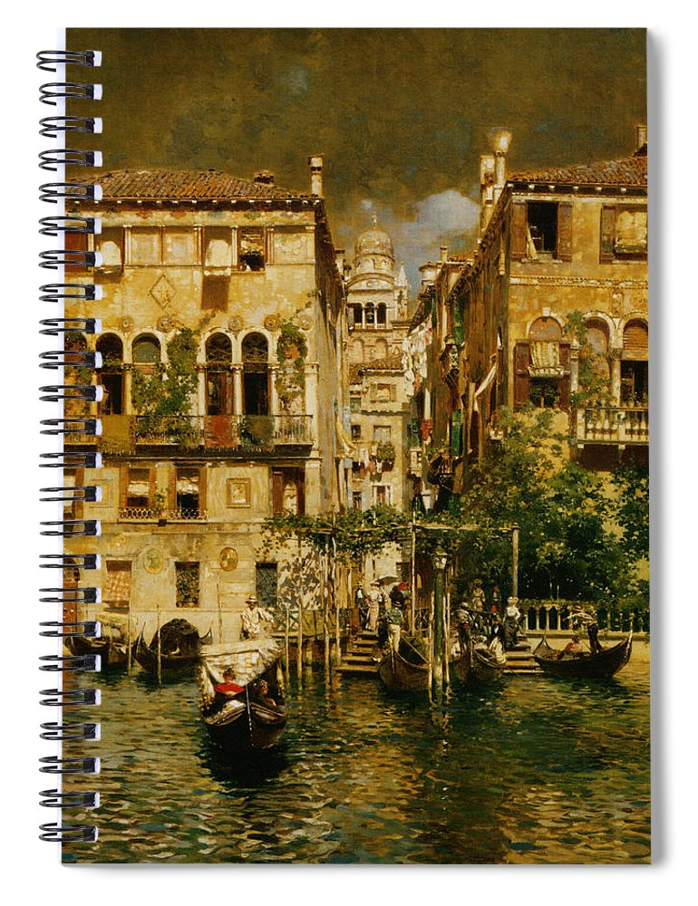Rubens Santoro Spiral Notebook featuring the digital art Gondolas Leaving A Residence On The Grand Canal Venice by Rubens Santoro