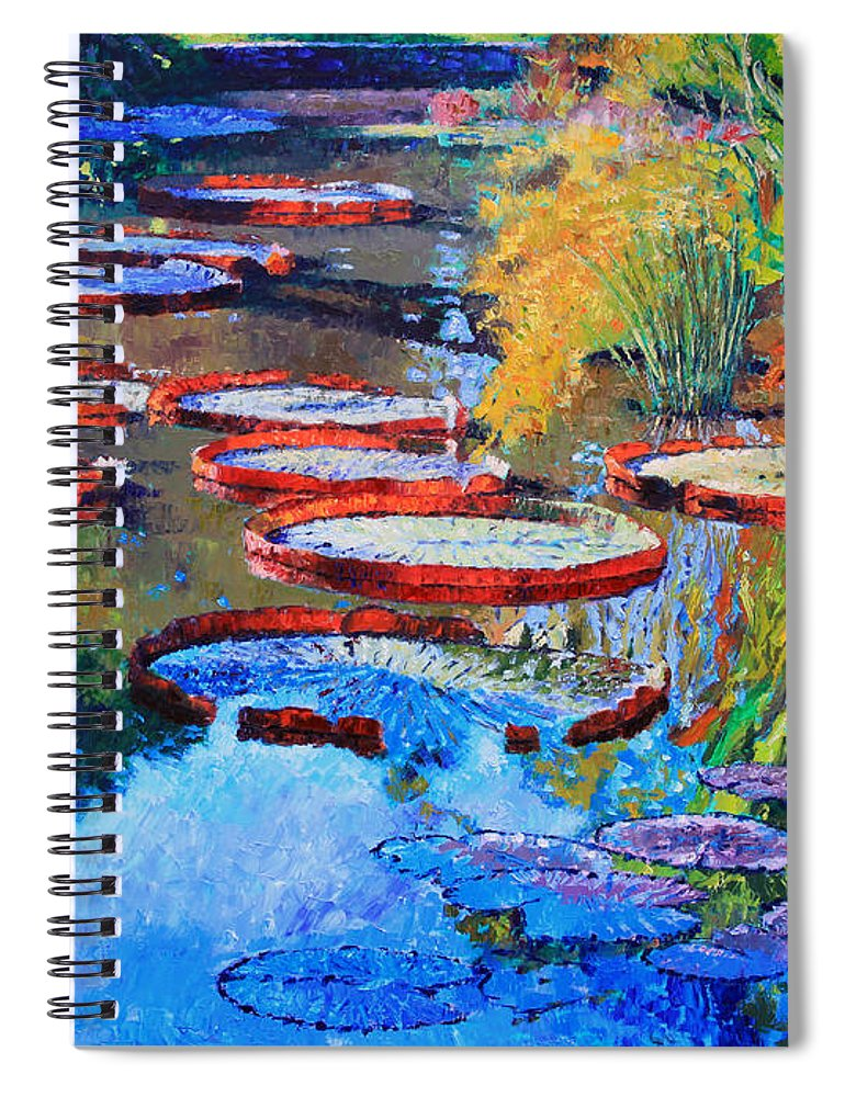 Garden Pond Spiral Notebook featuring the painting Good Morning Lily Pond by John Lautermilch