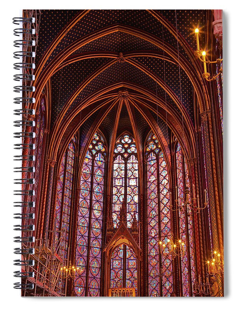 Gothic Style Spiral Notebook featuring the photograph Gothic Architecture Inside Sainte by Julian Elliott Photography