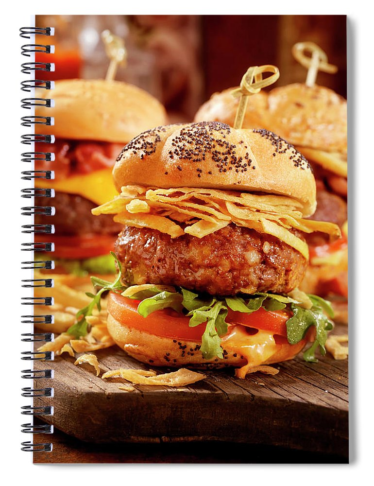 Stout Spiral Notebook featuring the photograph Gourmet Sliders by Lauripatterson
