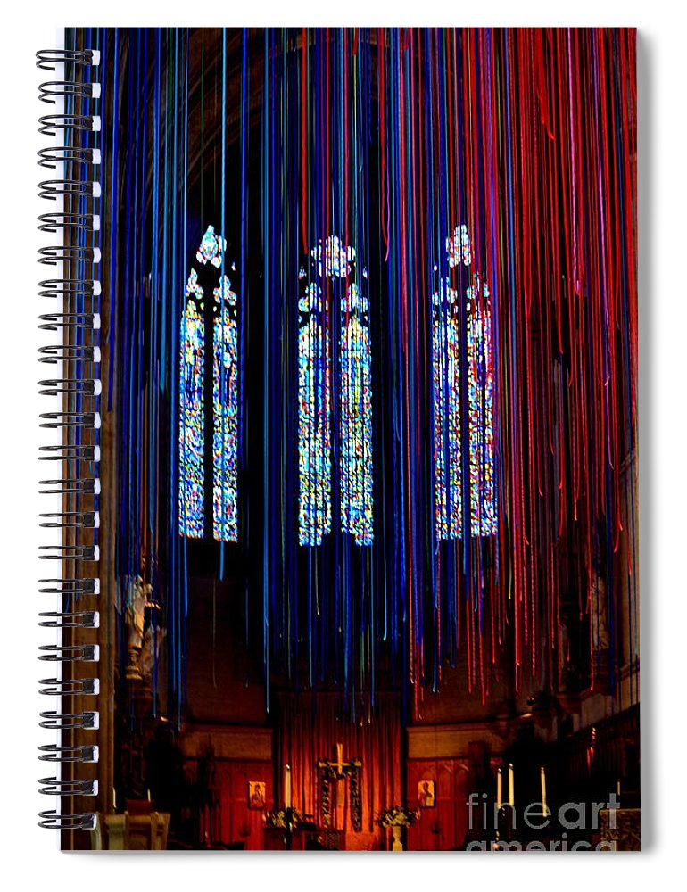 Grace Cathedral Spiral Notebook featuring the photograph Grace Cathedral With Ribbons by Dean Ferreira