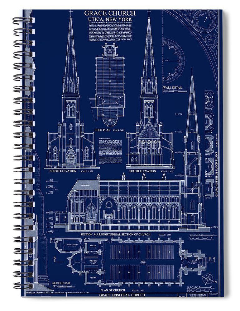Grace church blueprint spiral notebook for sale by daniel hagerman grace church spiral notebook featuring the digital art grace church blueprint by daniel hagerman malvernweather Image collections