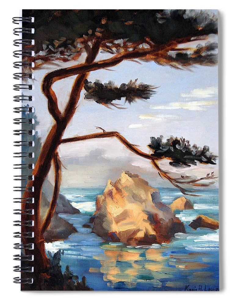 Point Lobos Painting Spiral Notebook featuring the painting Graceful Pine Pt. Lobos by Karin Leonard