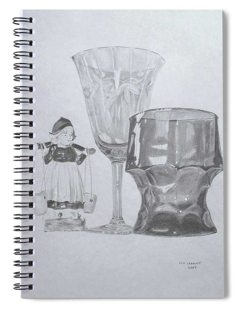 Glassware Spiral Notebook featuring the drawing Grammas Glasses by Mary Ellen Mueller Legault