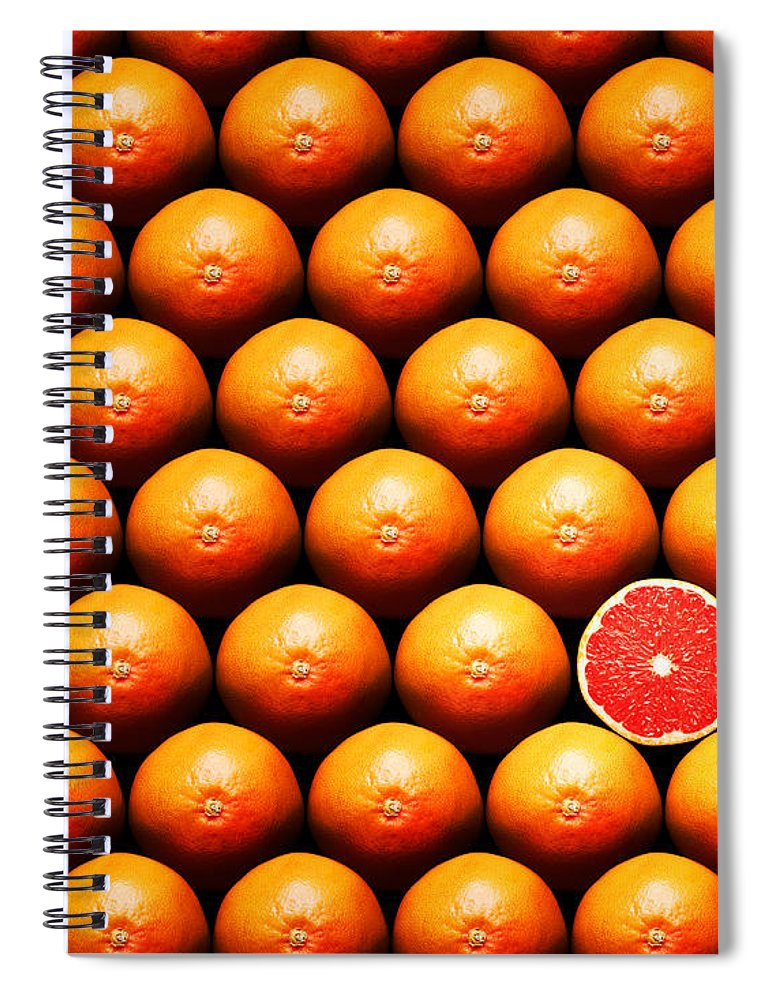 Grapefruit Spiral Notebook featuring the photograph Grapefruit Slice Between Group by Johan Swanepoel