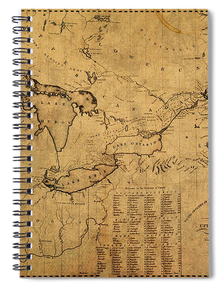 Great Lakes Spiral Notebook featuring the mixed media Great Lakes And Canada Vintage Map On Worn Canvas Circa 1812 by Design Turnpike