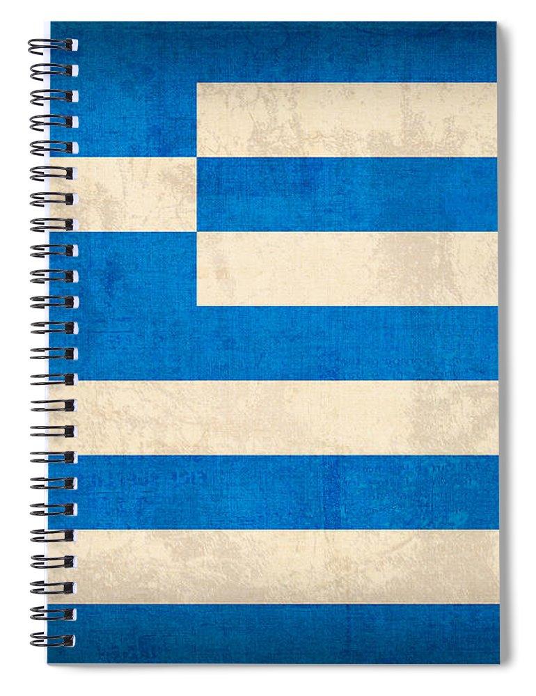 Greece Greek Athen Hellenic Ruins Acropolis Flag Vintage Distressed Finish Spiral Notebook featuring the mixed media Greece Flag Vintage Distressed Finish by Design Turnpike