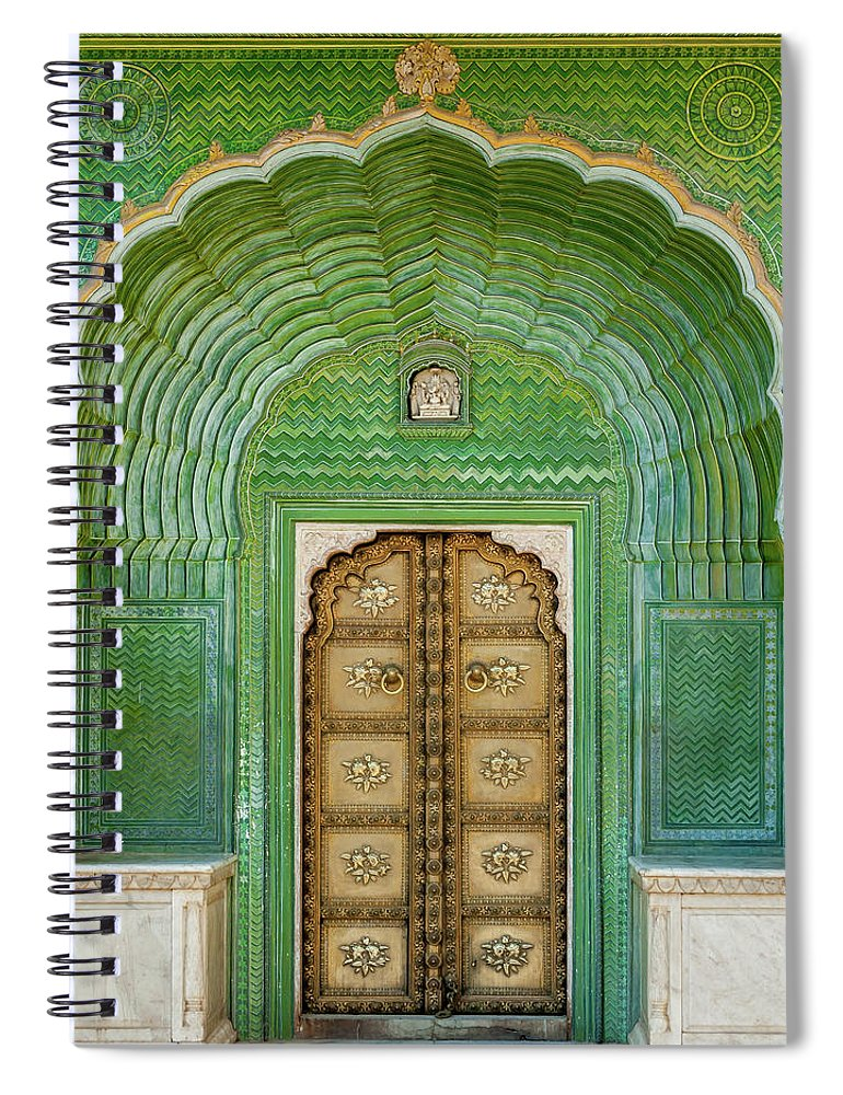Arch Spiral Notebook featuring the photograph Green Gate In Pitam Niwas Chowk by Hakat