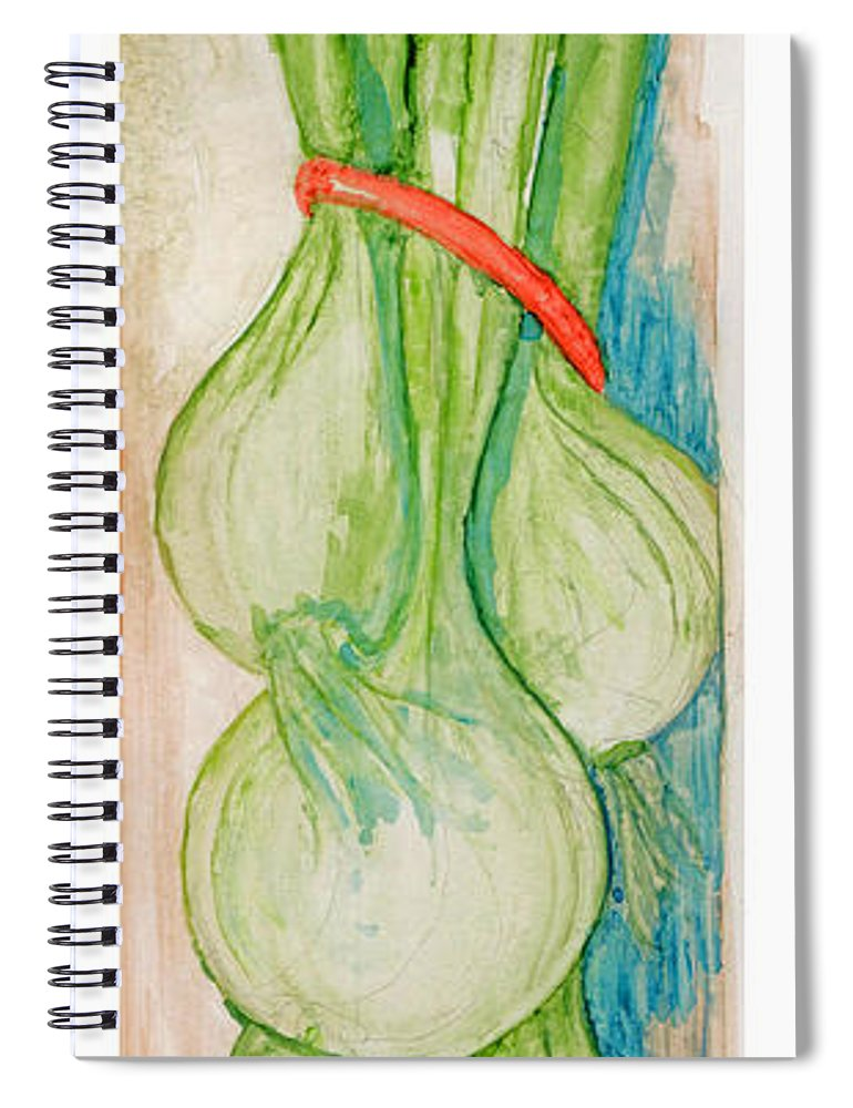 Still Life Spiral Notebook featuring the painting Green Onions by Elle Smith Fagan