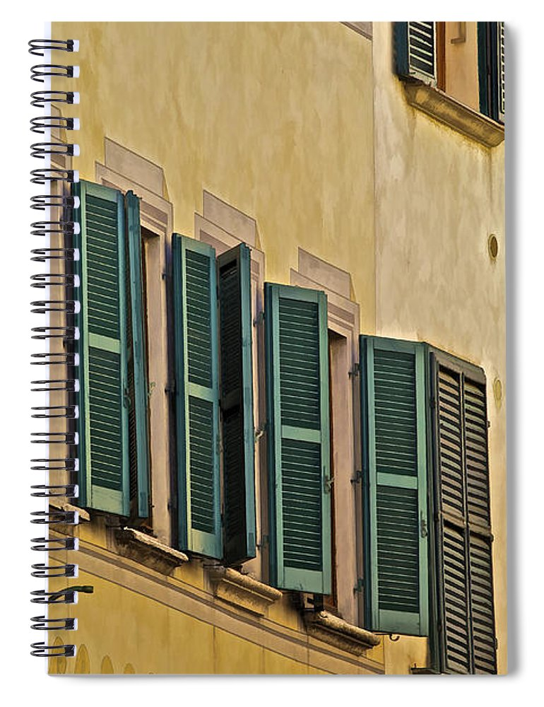 Carved Stone Spiral Notebook featuring the photograph Green Window Shutters Of Florence by David Letts