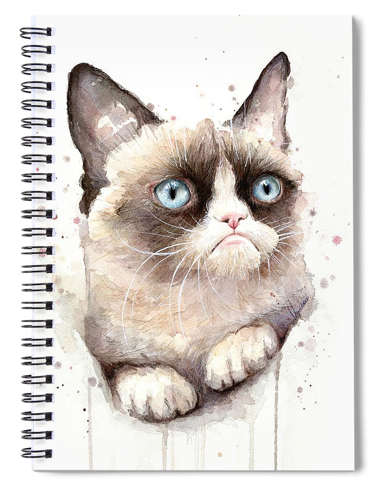 Grumpy Spiral Notebook featuring the painting Grumpy Cat Watercolor by Olga Shvartsur
