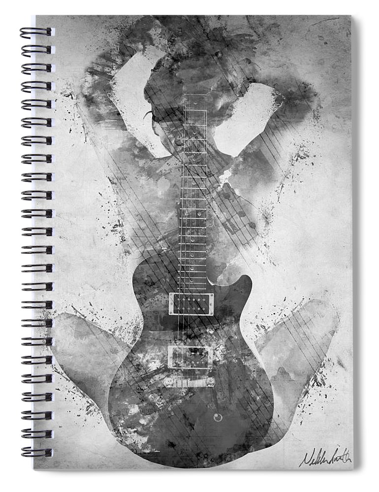 Guitar Spiral Notebook featuring the digital art Guitar Siren in Black and White by Nikki Smith