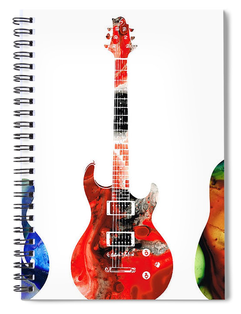Guitar Spiral Notebook featuring the painting Guitar Threesome - Colorful Guitars By Sharon Cummings by Sharon Cummings