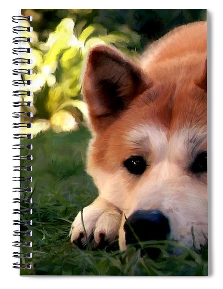 Hachiko Spiral Notebook featuring the digital art Hachiko by Gabriel T Toro