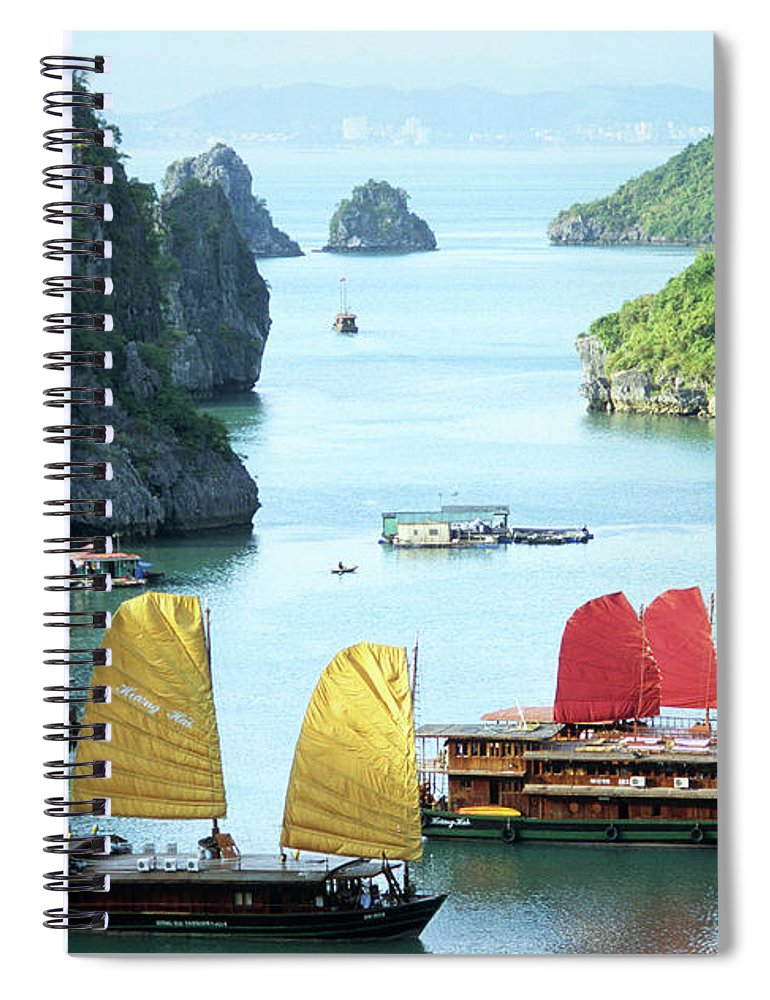 Vietnam Spiral Notebook featuring the photograph Halong Bay Sails 01 by Rick Piper Photography