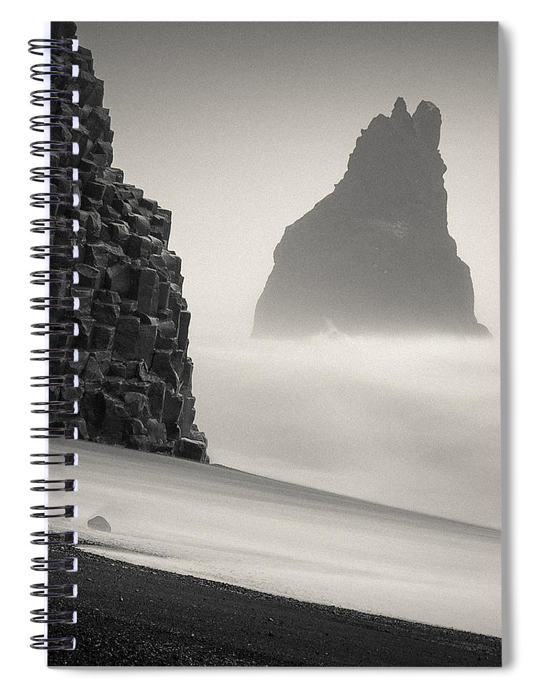 Halsenifs Hellir Spiral Notebook featuring the photograph Halsenifs Hellir Sea Stack by Dave Bowman