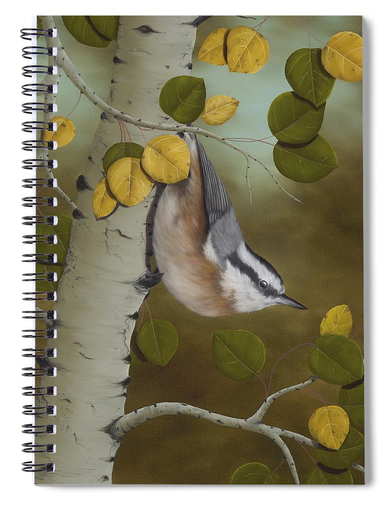 Animals Spiral Notebook featuring the painting Hanging Around-red Breasted Nuthatch by Rick Bainbridge