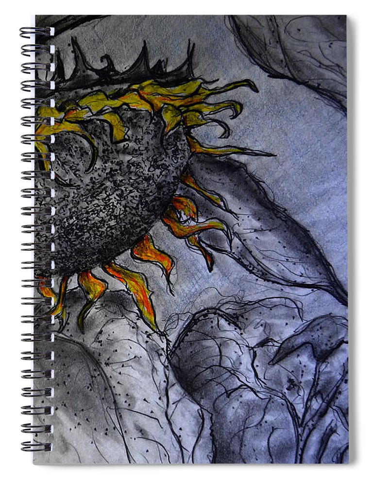 Hanging On To Life - Sunflower Spiral Notebook featuring the drawing Hanging On To Life - Sunflower by Jose A Gonzalez Jr