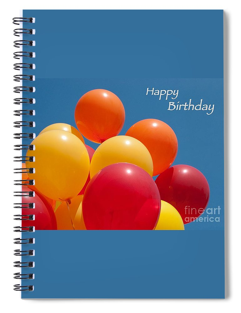 Happy Birthday Spiral Notebook Featuring The Photograph Balloons By Ann Horn